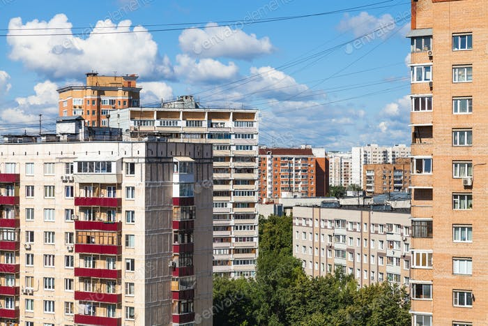 apartment houses in Moscow city in sunny day