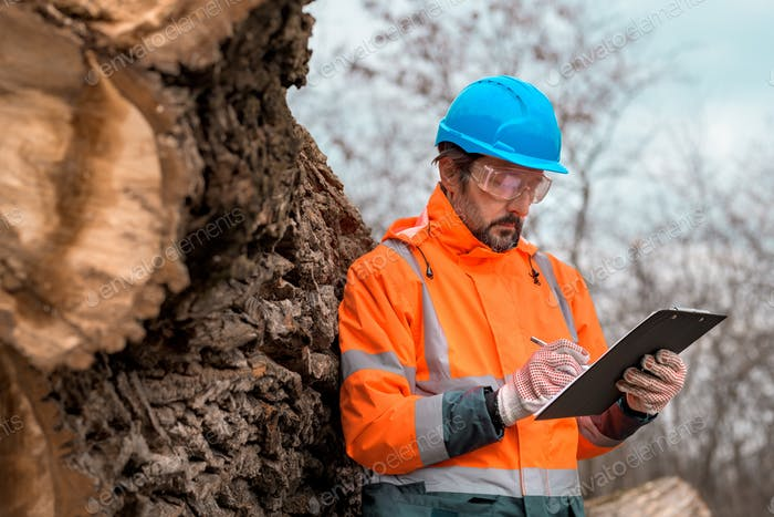 Forestry technician writing notes on clipboard notepad paper in forest