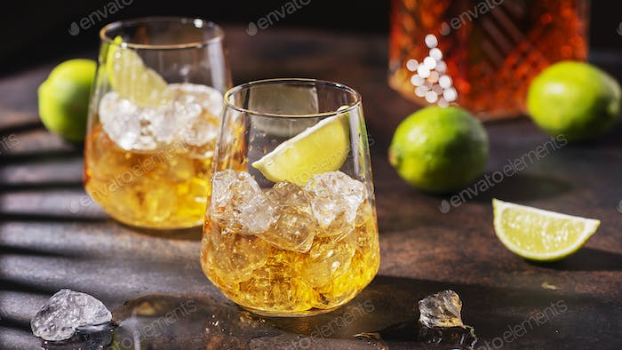 Cuban strong rum with ice and lime