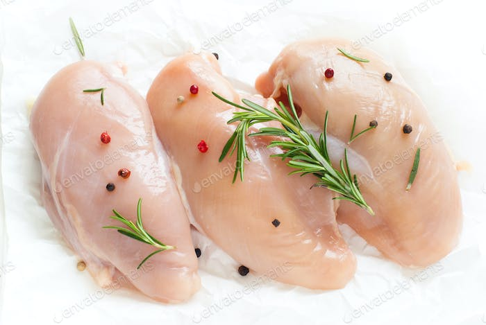 Raw Chicken fillet on a white