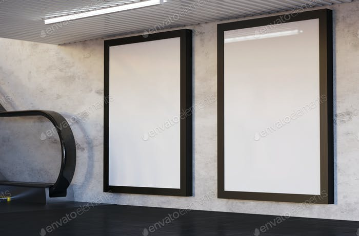 3D Illustration. Mockup of blank billboard posters on subway.