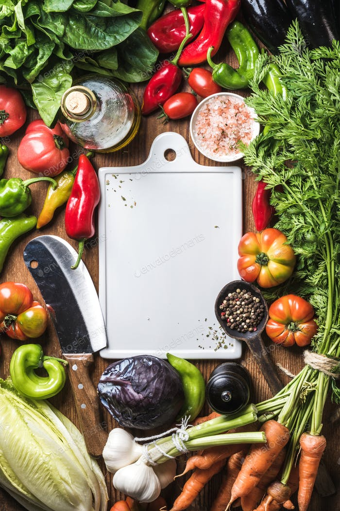 Fresh raw ingredients for healthy cooking