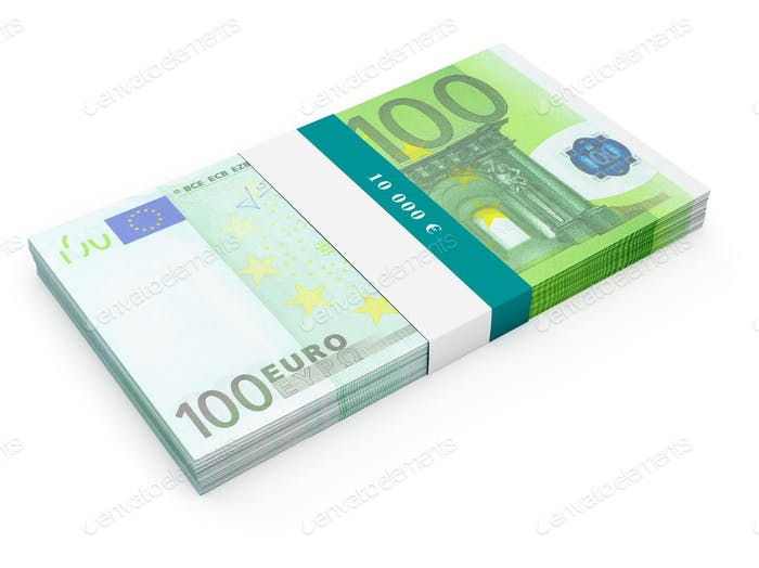 Bundle of 100 euro banknotes bills isolated