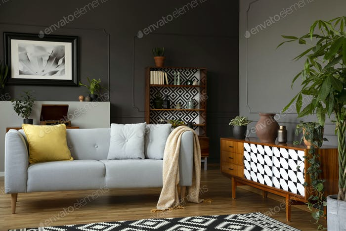 Light grey sofa with blanket and pillows standing in real photo