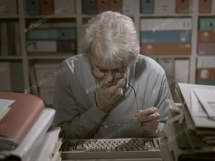 Office worker using a keyboard