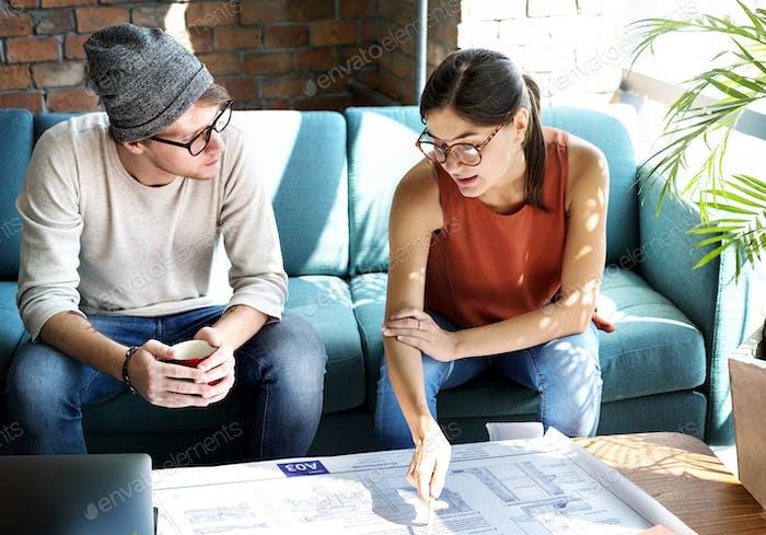 Blueprint Brick Colleagues Corporate Business Concept