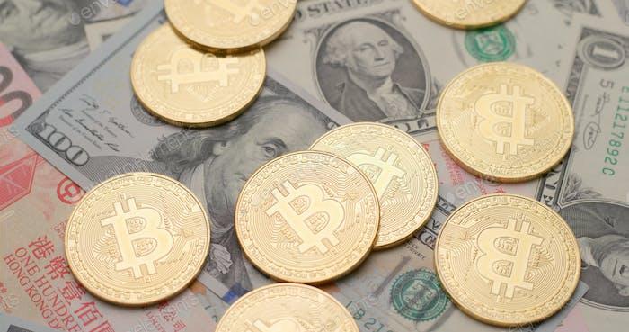 Hong Kong American dollar with bitcoin