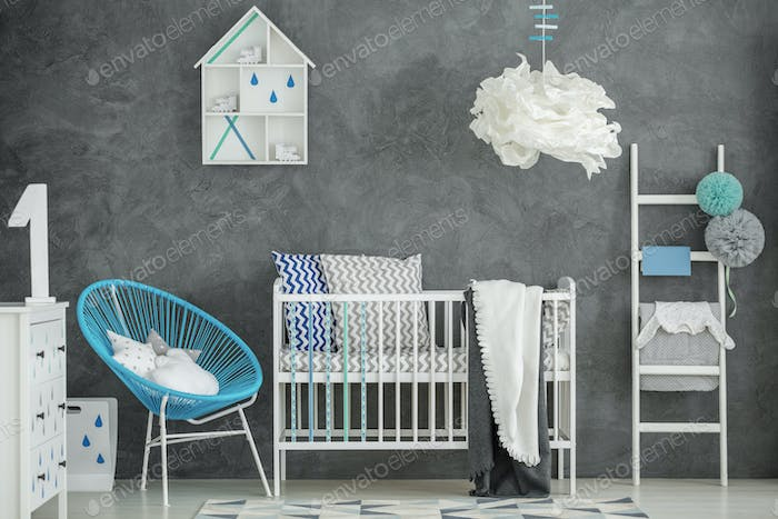 Baby bedroom with concrete wall