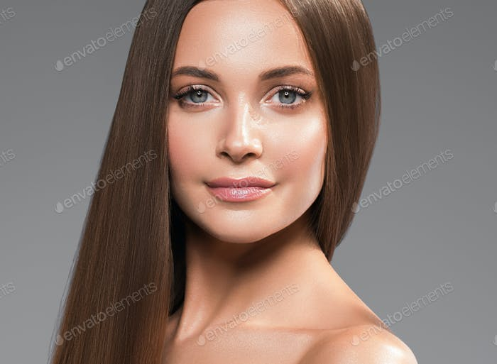 Smooth healthy hair woman cosmetic face