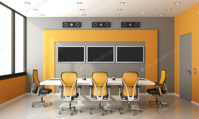 Moderner Sitzungssaal in Grau und Orange