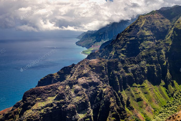 Beautiful landscape view of Na Pali coastline in dramatic style,