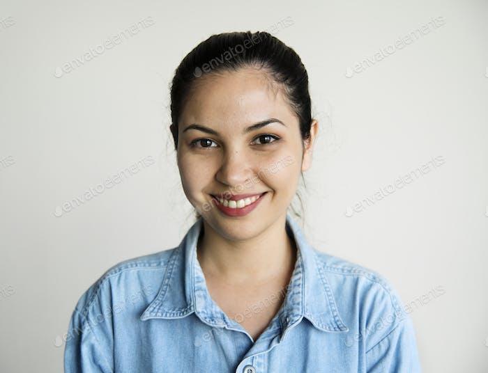 Portrait of caucasian woman smiling