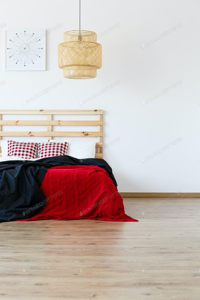 Bed with red and black