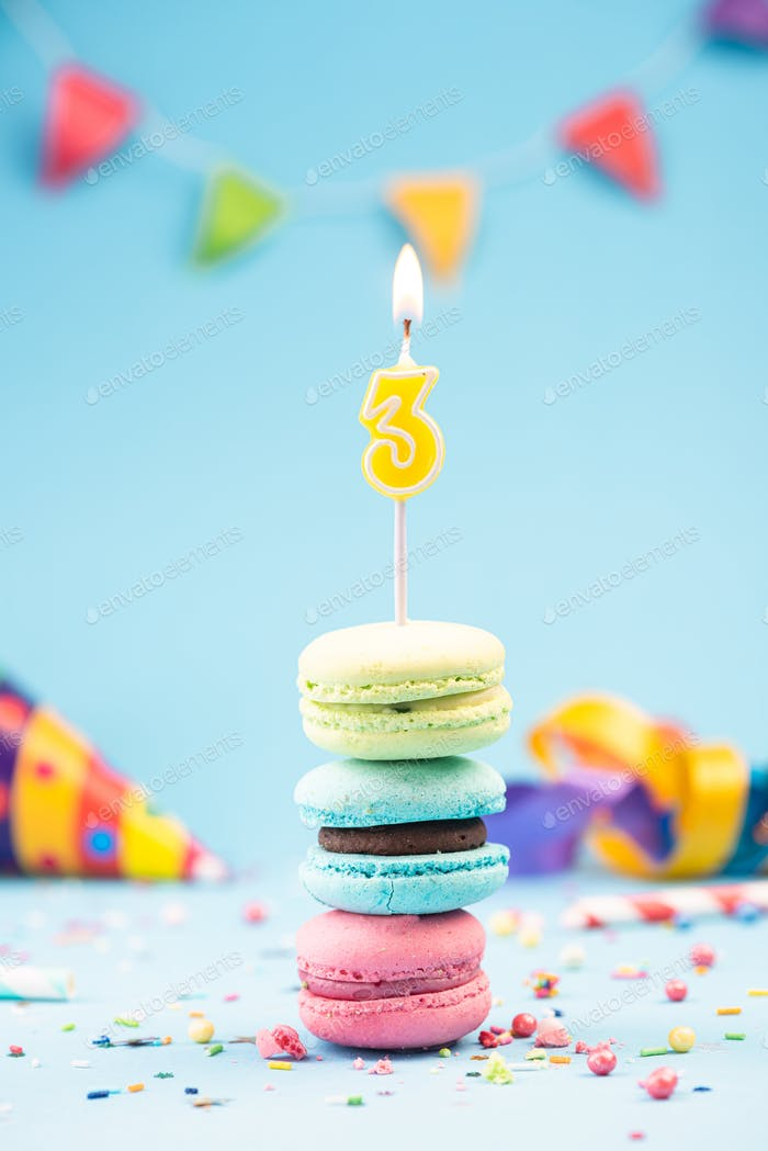 Third 3rd Birthday Card with Candle in Colorful Macaroons and Sp