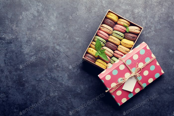 Colorful macaroons in a box