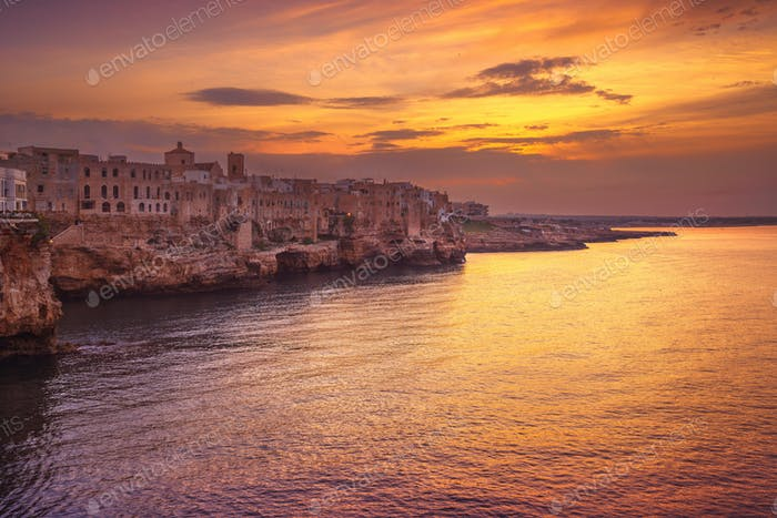 Polignano a Mare village at sunset, Bari, Apulia, Italy.