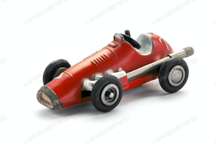 Vintage red toy racing car