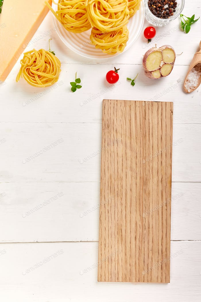 Flat lay overhead recipe page with mockup, text space with italian food