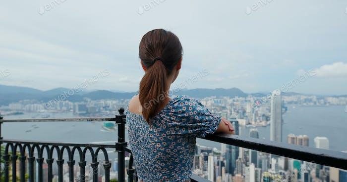 Woman visit Hong Kong landmark