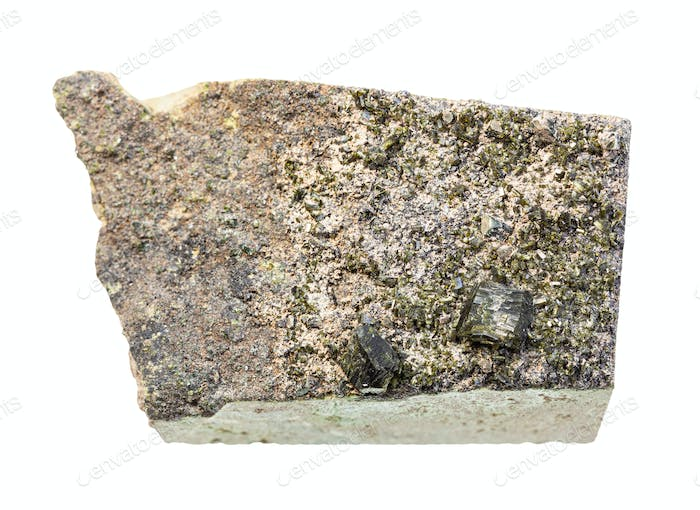 crystals of Epidote in matrix on rock isolated