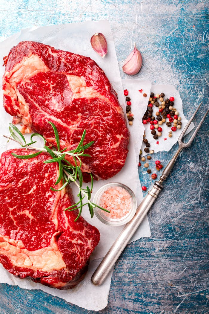 Raw Fresh Marbled Meat Beef Steak.ngredients for Cooking
