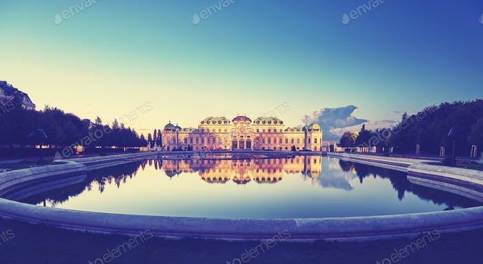 Color toned panoramic view of Belvedere Palace in Vienna after s