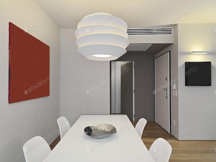 Modern Dining Room Interior with Parquet Floor