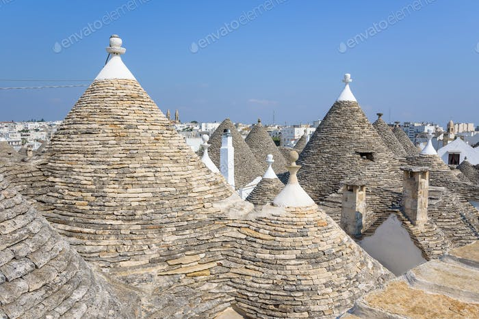 Conical rooftop sof the trullis in Alberobello