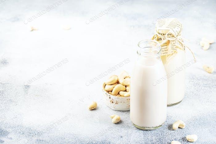 Vegan Cashew nut milk in bottles