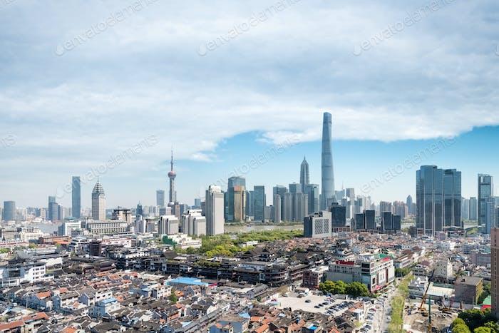 modern shanghai skyline and the old city area