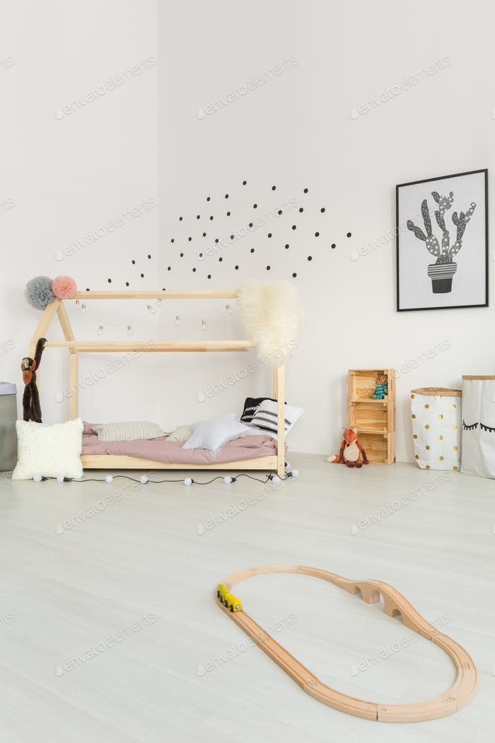 Cream-colored delicate baby bedroom