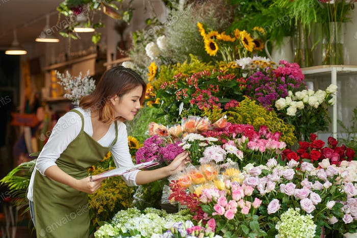 Taking Inventory in Flower Shop