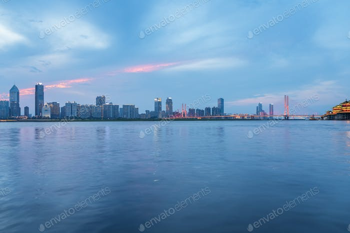 Nanchang cityscape of beautiful Ganjiang river in twilight