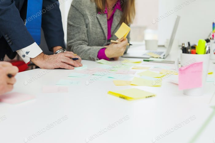 Cropped image of businesspeople preparing adhesive notes in office