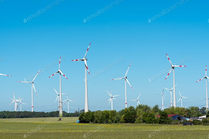 Wind power in the fields in Germany