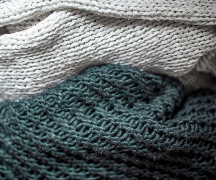 the warm texture of the fabrics close up