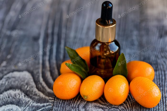 Dropper bottle of kumquat essential oil