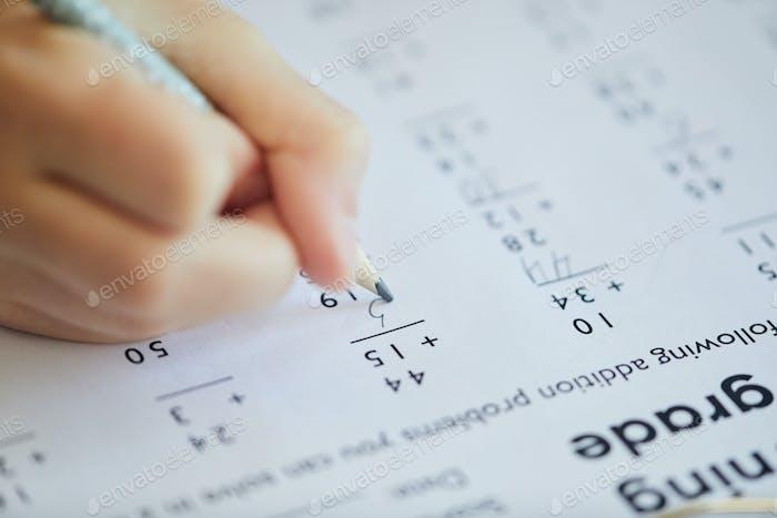 Math Test Close Up