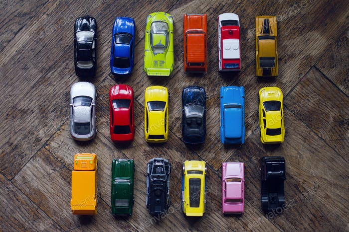assorted colorful car collection on floor