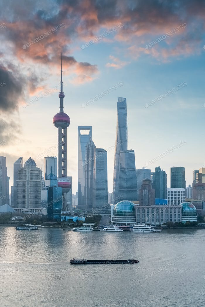shanghai cityscape with morning glow