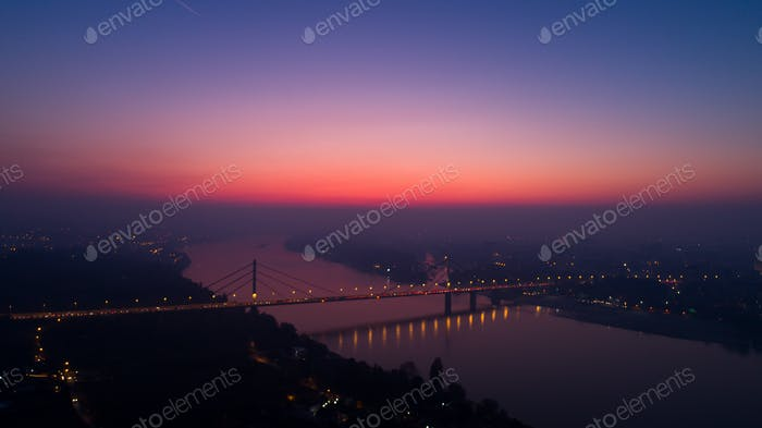 Night Cityscape from of Novi Sad from Air