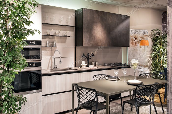 Stylish modern fitted kitchen and dining area
