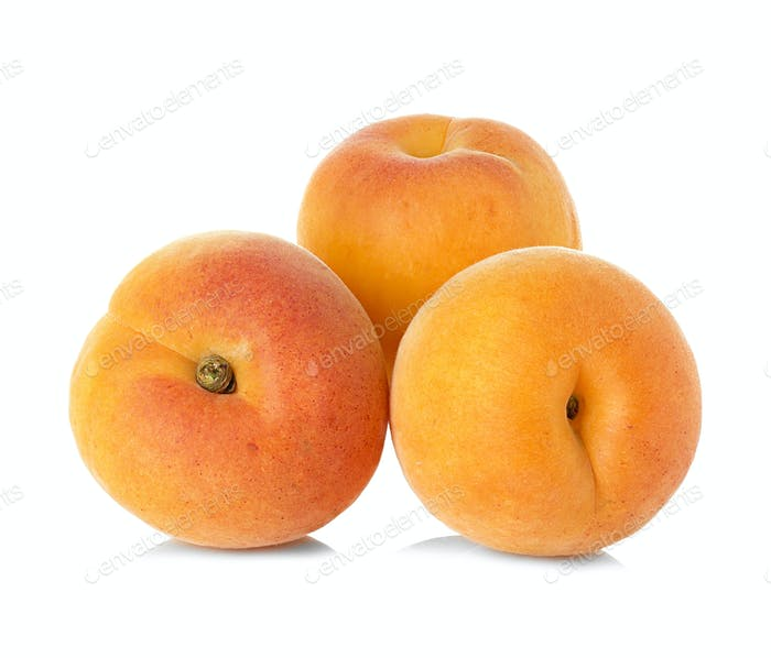 Ripe apricots fruit isolated on white background
