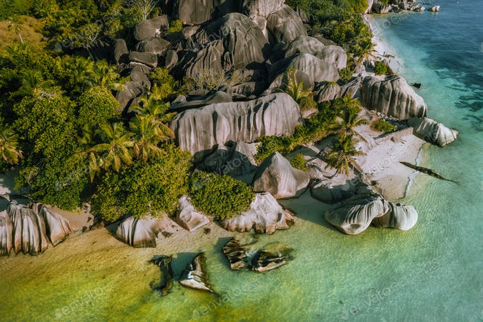 Aerial view of tropical beach Anse Source d'Argent at La Digue island, Seychelles