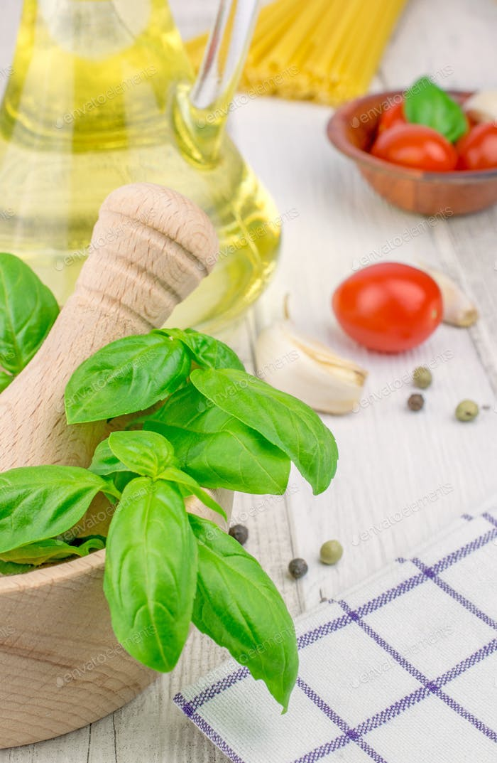 Fresh basil and other ingredients