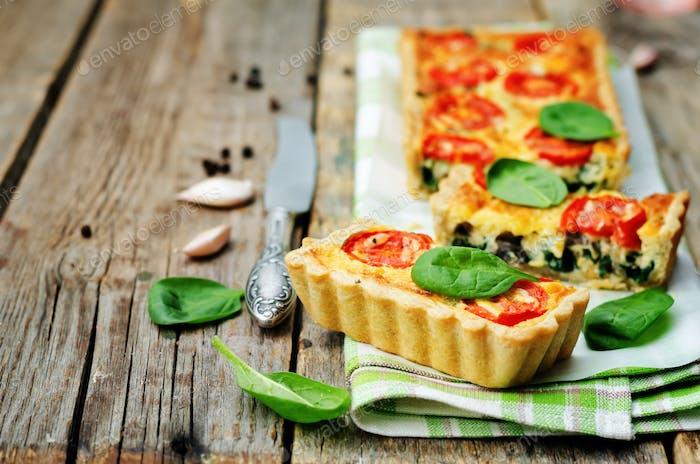 spinach, tomatoes, mushroom quiche