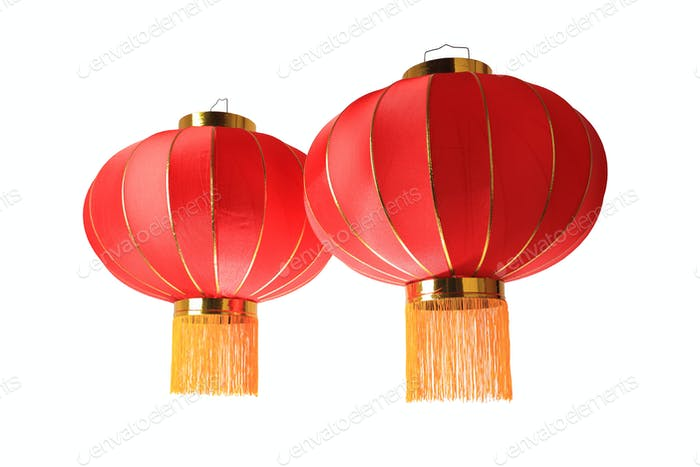 red lantern isolated on white