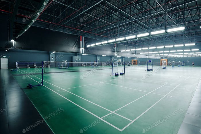 Courts for playing tennis and badminton