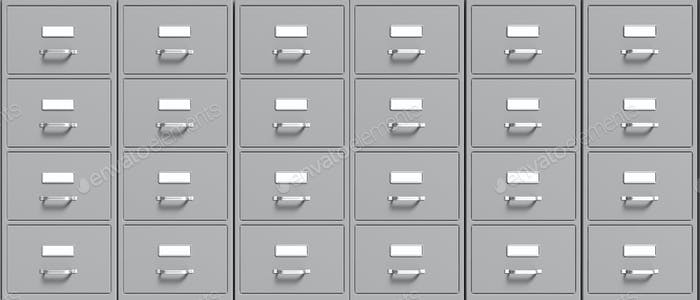 Filing cabinets background. Office document file organisation. 3d illustration