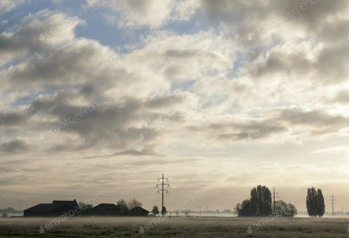 Misty landscape near Sliedrecht